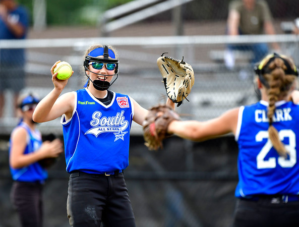 7/25/2019 Mike Orazzi | Staff South Little League from South Williamsport, Pa.'s Alizabeth Schuler (12) celebrates during a 3-2 win over Milford Little League from Milford, Conn. during the Eastern Regional Softball Tournament at Breen Field in Bristol on Thursday.