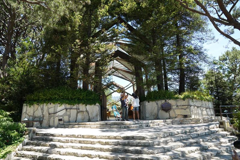 Taking a selfie outside the Wayfarers Chapel in Rancho Palos Verdes