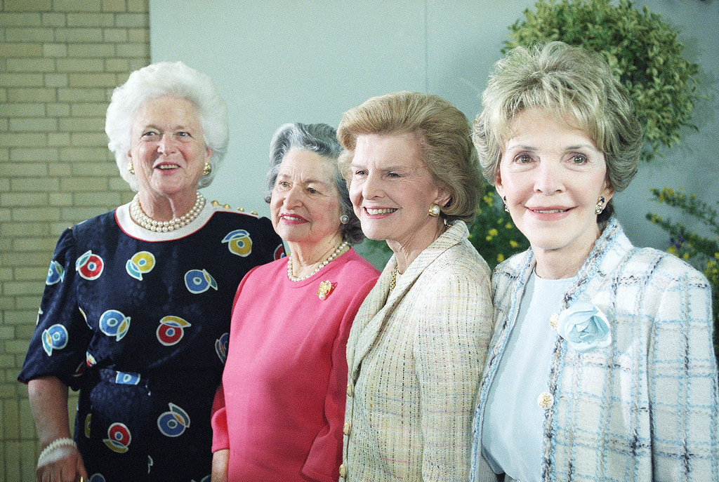 . Former first ladies pose for photographers at the U.S. Botanic Garden in Washington on Wednesday, May 11, 1994. From left are, Barbara Bush, Lady Bird Johnson, Betty Ford and Nancy Reagan. The women are in Washington for tonight\'s National Garden Gala A Tribute to Americas First Ladies which is sponsored by the National Fund for the U.S. Botanic Garden. (AP Photo/Denis Paquin)
