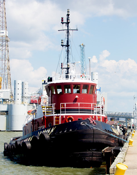 The 1990 tugboat Andrew K berthed in Galveston Harbor