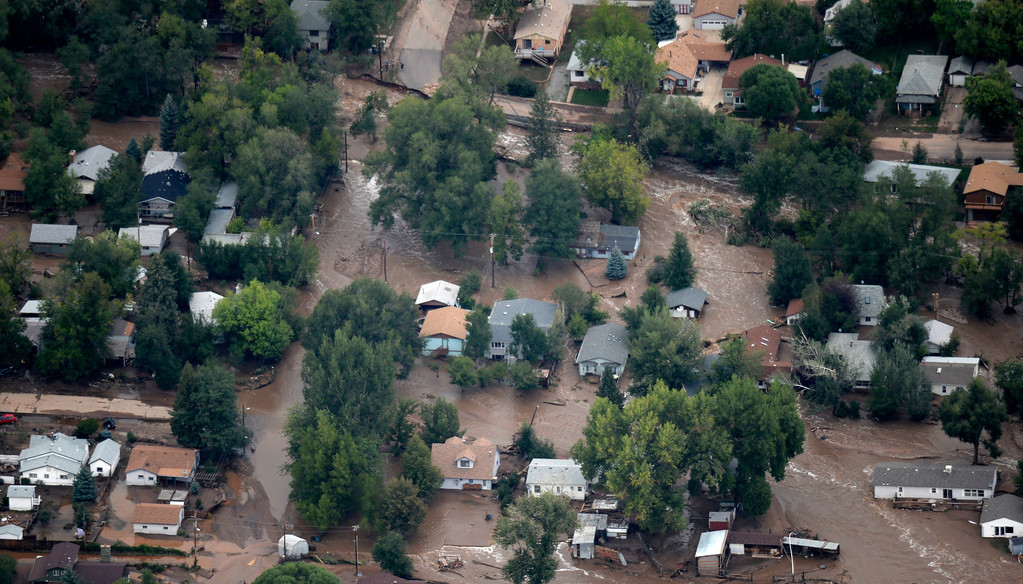 . An aerial photograph shows the damage in Lyons from the flood, September 13, 2013. Massive flooding continues to hit Colorado. (Photo By RJ Sangosti/The Denver Post)
