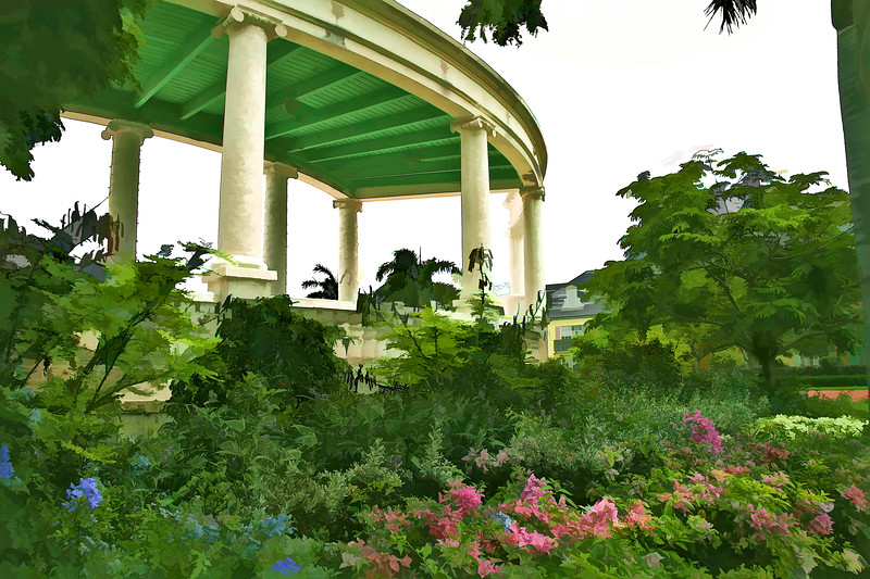 Lush garden surrounding and architectural structure in the tropics.
