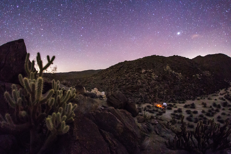 Nighttime view of my campsite in the Blair Valley area of Anza-Borrego Desert State Park