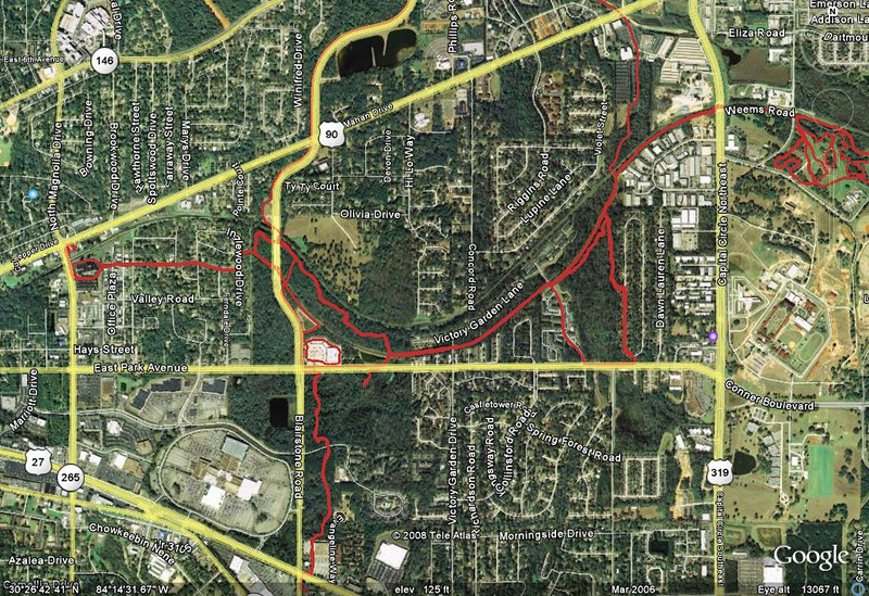 """Zooming out a bit, Fern Trail area as of June 2008. This shows all of the current Fern Trail plus some handy connectors. West (left) end of GPS track is Higher Ground Bike shop. East (far right) is Tom Brown Park's Magnolia Trail. See here for more on Magnolia Trail:  http://tallahasseetrails.smugmug.com/gallery/3269787 South (bottom) track is the old Pine Beetle Trail spur. Pine Beetle was also called the """"Albertson's"""" trail. Albertson's is gone - it's now a Kohl's store. Northward tracks (top) are Blairstone Road (left) and Fort Knox connector (right)."""