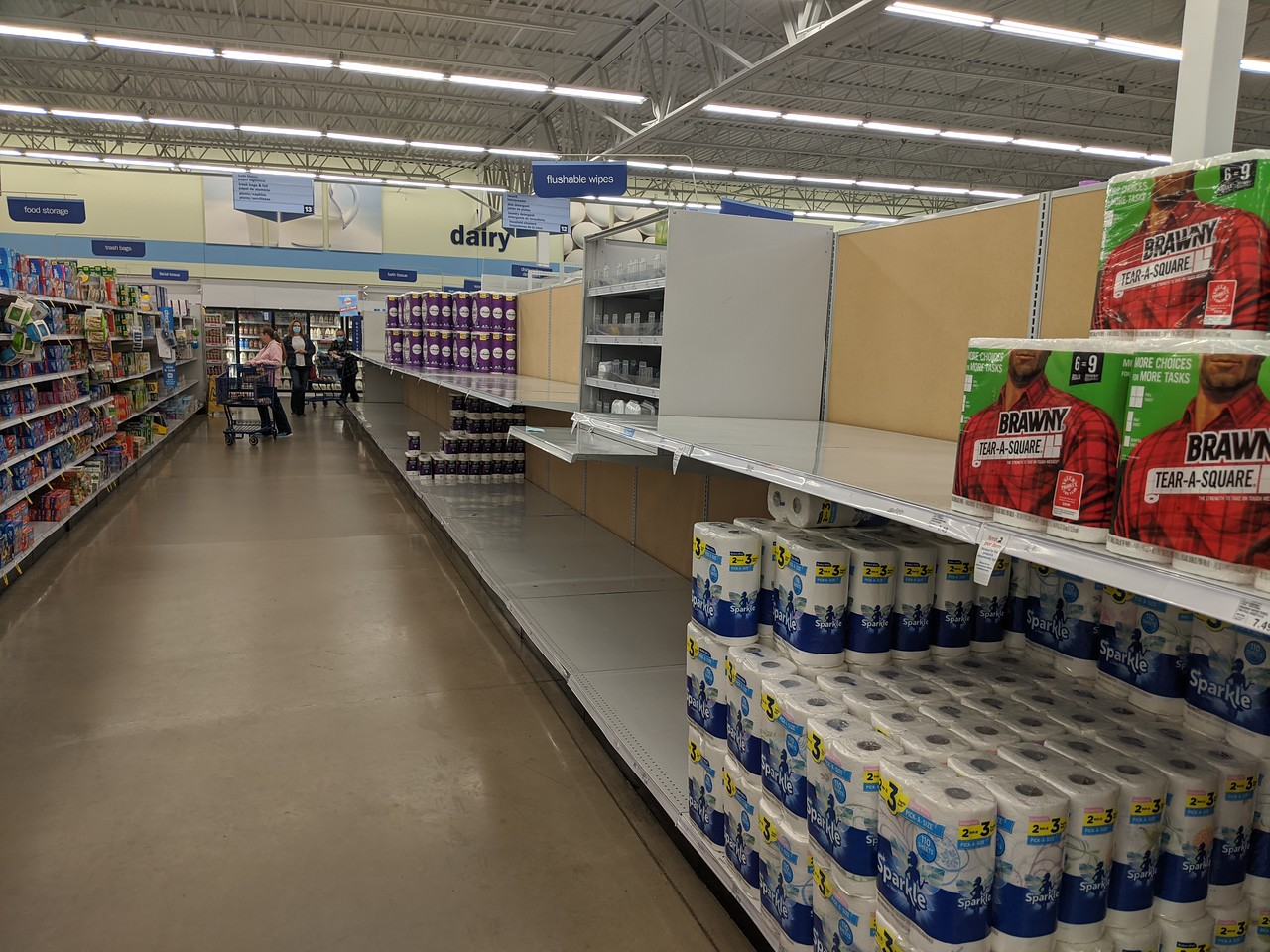 Paper towel and toilet paper aisle at Meijer, Apr 19, 2020