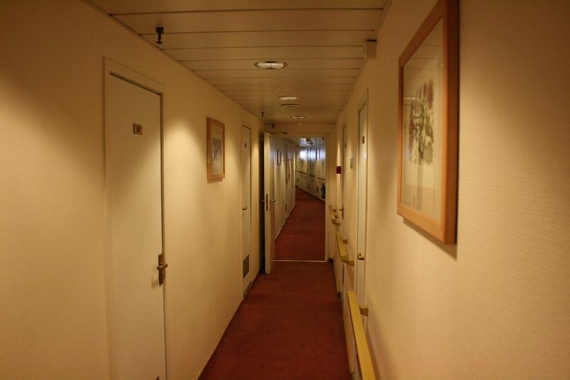 On board T/S FUNCHAL : cabin corridor.