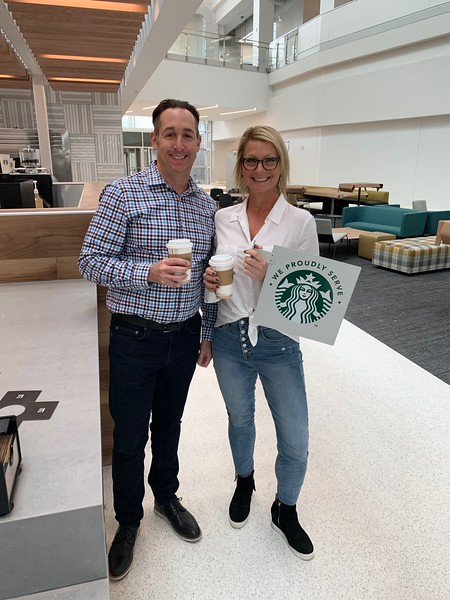 Jill VanDyken and Guy Hughes at our new Starbucks.JPG