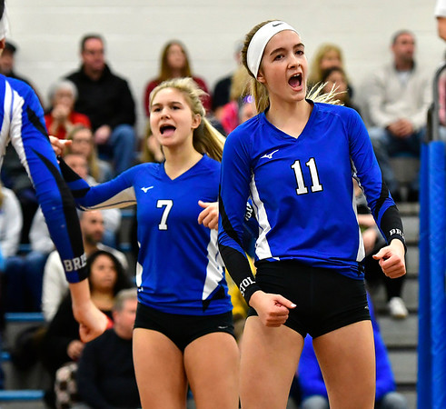 11/10/2018 Mike Orazzi   Staff Bristol Eastern's Zoe Lowe (7) and Ryley Plourde (11) during the Class L Quarterfinal Girls Volleyball Tournament in Bristol Saturday.