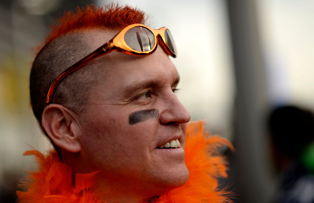 . Eddie Kasperzak shows his support for the Broncos prior to the start of the game.  The Denver Broncos vs the Seattle Seahawks in Super Bowl XLVIII at MetLife Stadium in East Rutherford, New Jersey Sunday, February 2, 2014. (Photo by Hyoung Chang//The Denver Post)