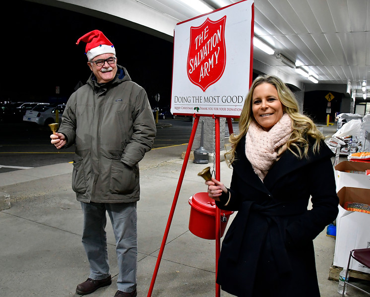 12/19/2018 Mike Orazzi | Staff  State Representative Whit Betts (R-78) Cara Pavalock D'Amato (R-77) while participating in The Salvation Army's Red Kettle Campaign by ringing bells at Walmart on Farmington Avenue in Bristol. Wednesday.