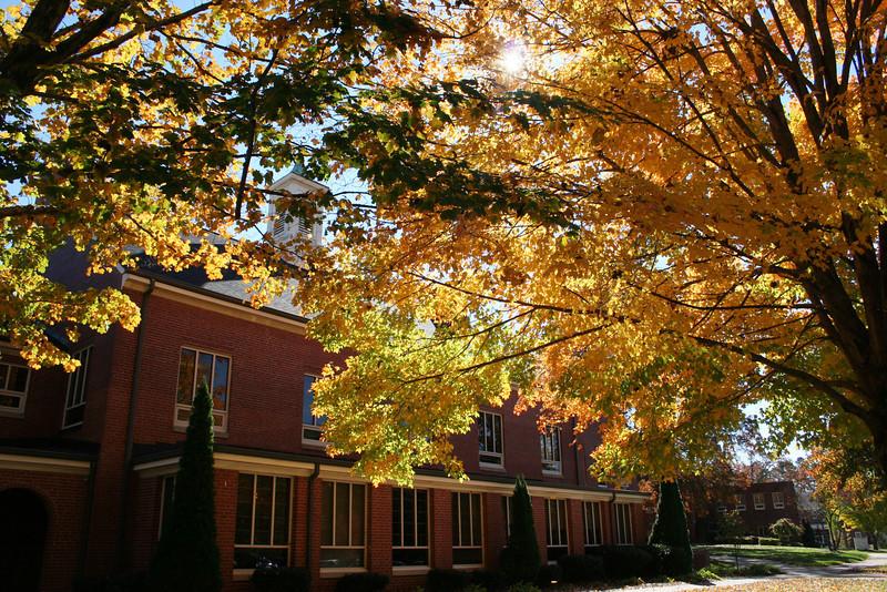 The changing trees behind O. Max Gardner Memorial Hall on a Fall day at Gardner-Webb University.