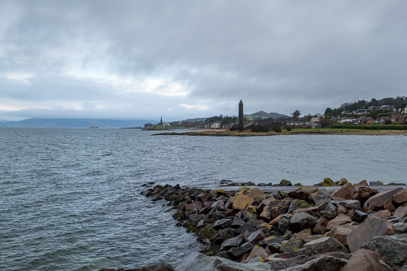 Scottish Town of largs Looking North Past the Pencil Monument