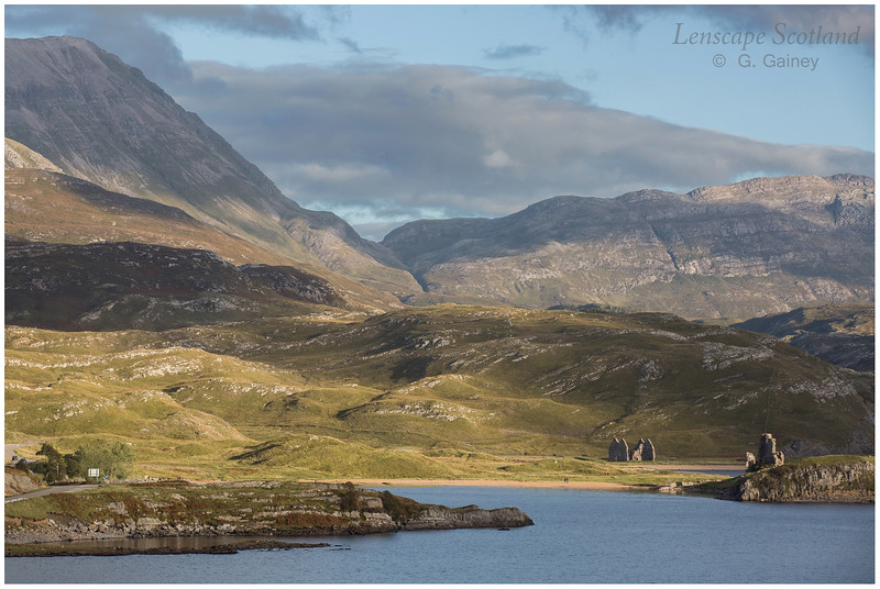 evening light on the ruins of Ardvreck Castle, Loch Assynt