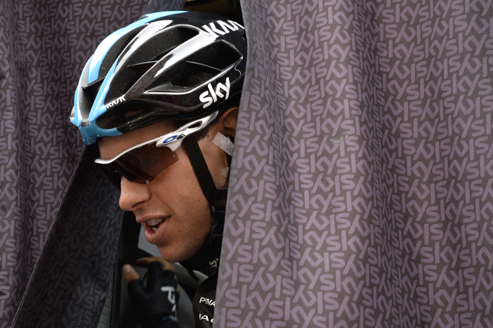 . Australia\'s Richie Porte gets off the Britain\'s Sky cycling team bus at the departure village in Arras prior to the start of the 194 km sixth stage of the 101st edition of the Tour de France cycling race on July 10, 2014 between Arras and Reims, northern France.  (JEFF PACHOUD/AFP/Getty Images)