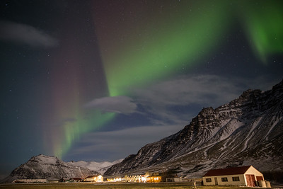 Northern starting to to show above the Gerdi guest house near Jokulsarlon.