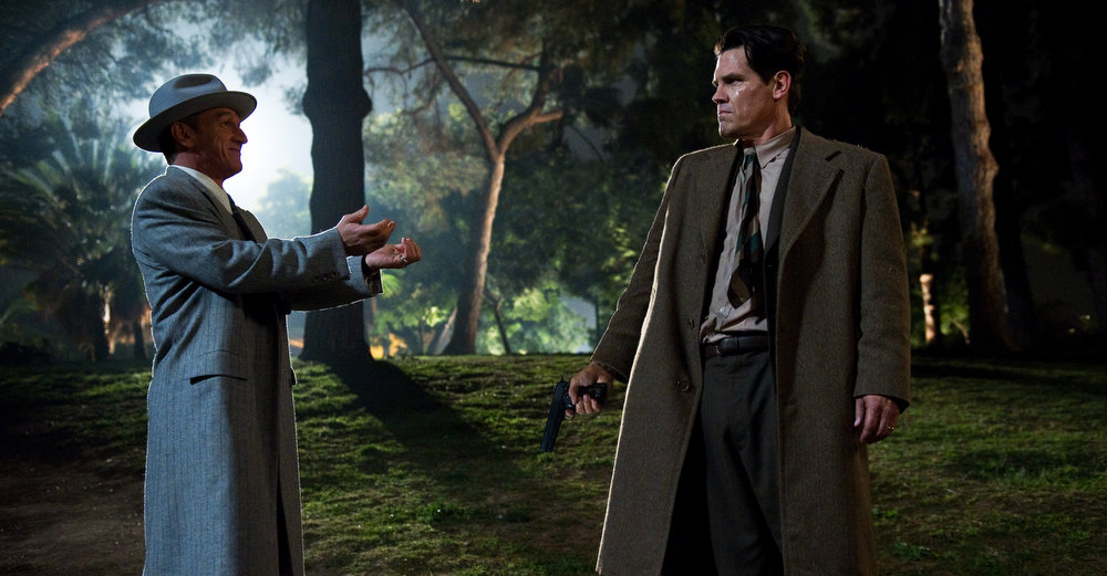 """. This film image released by Warner Bros. Pictures shows Sean Penn, left, as Mickey Cohen and Josh Brolin, as Sgt. John O\'Mara in \""""Gangster Squad.\"""" (AP Photo/Warner Bros. Pictures, Wilson Webb)"""