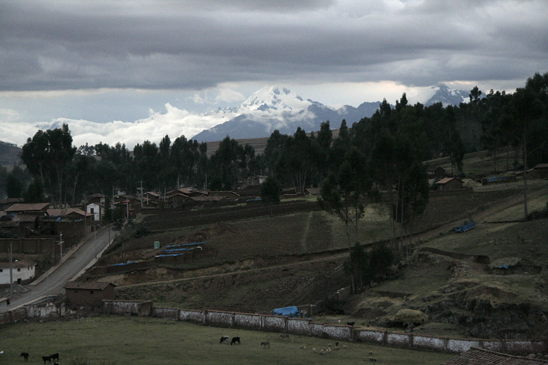 View from Chinchero looking out at the Inca's birthplace of the rainbow. The mountain in the distance is over 6000m (20,000ft) in altitude and is partially obscured by clouds.