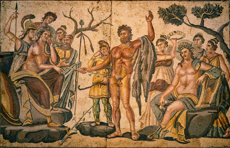 Roman mosaic of the musical contest between Apollos and Marsyas ...