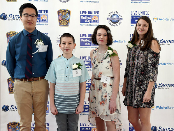 4/5/018 Mike Orazzi   Staff Youth Live United Award candidates, Isaac Baek, Dominic Caves, Madison Foley and Madison Maske during the United Way of West Central Connecticut's 16th Annual Community Builders' Reception Thursday night.