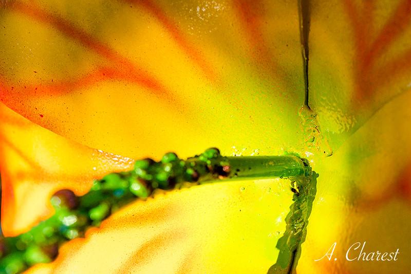 Colored metal flower