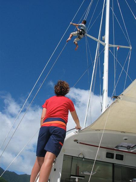 Vanessa hoists Callum up to inspect ADAGIO's rig before departure.