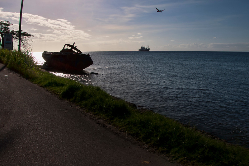 An abandoned shipwreck near the road.