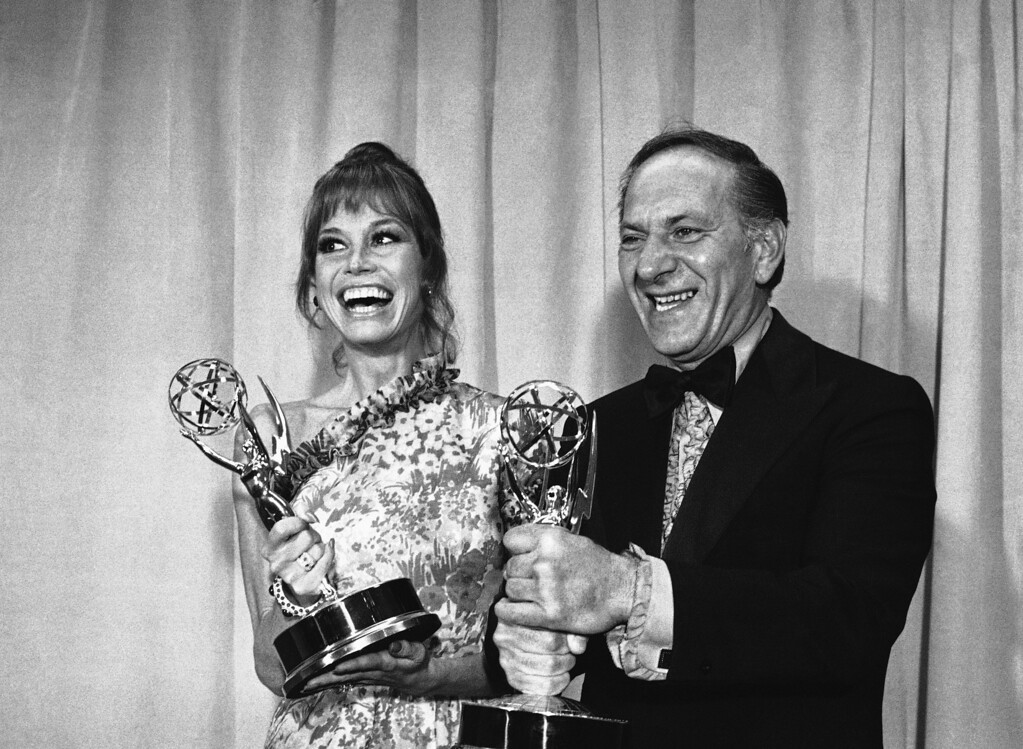 . Mary Tyler Moore and Jack Klugman hold the Emmys they were awarded at the Television Academy?s annual awards presentations for best actress and actor of a comedy series in Los Angeles, May 20, 1973. Miss Moore won hers for the ?Mary Tyler Moore Show? and Klugman for ?The Odd Couple. (AP Photo/David F. Smith)