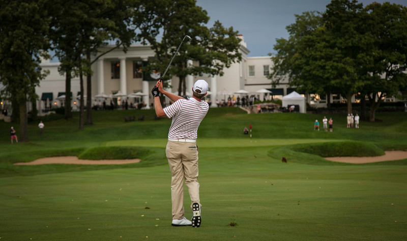 Chris Williams hits his approach shot to the 18th hole where he beat Jordan Russell 1 up to win the 2012 Western Amateur Championship at Exmoor Country Club in Highland Park IL. on Saturday, August 4, 2012. (WGA Photo/Charles Cherney)