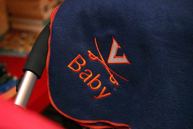 Shai sports a University of Virginia blanket