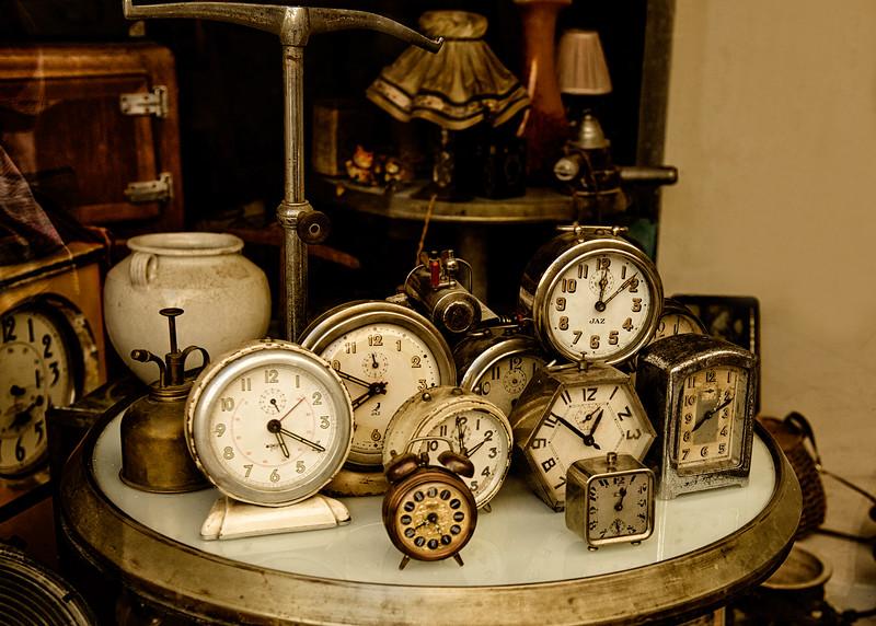 Clocks in window in Saint-Remy-de-Provence