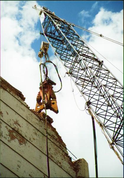 NPK M38G concrete pulverizer on crane-commerical demolition-Buffalo 7-8-00 (7).JPG