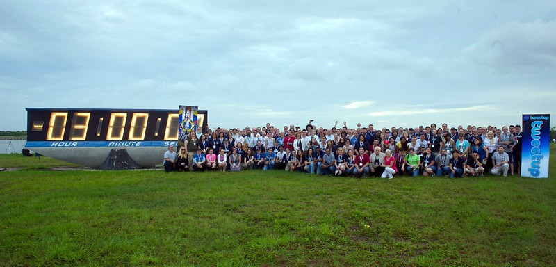 The Tweeps with the Countdown Clock (photo by Paul Alers for NASA)