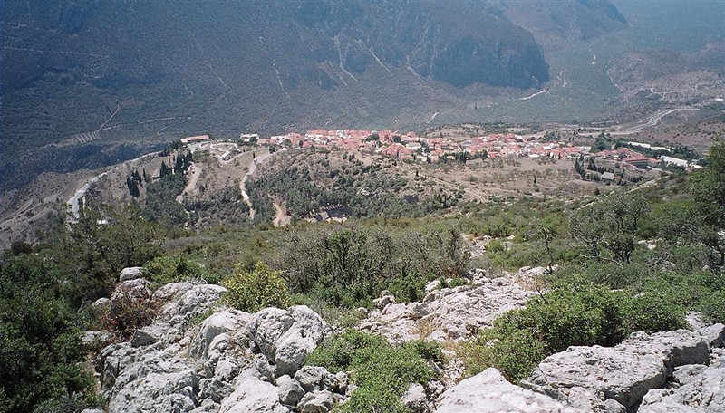 View down to Delphi.  Coming down from Mt. Parnassos was hottest hike - 39 degrees apparently.