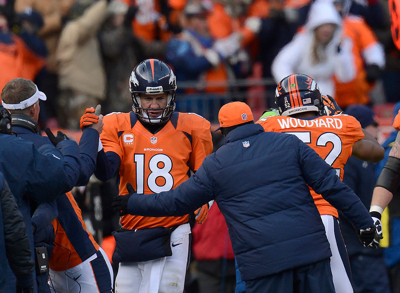 . Denver Broncos quarterback Peyton Manning (18) returns to the sidelines after passing to Stokley for a touchdown in the first quarter. The Denver Broncos vs Baltimore Ravens AFC Divisional playoff game at Sports Authority Field Saturday January 12, 2013. (Photo by Joe Amon,/The Denver Post)