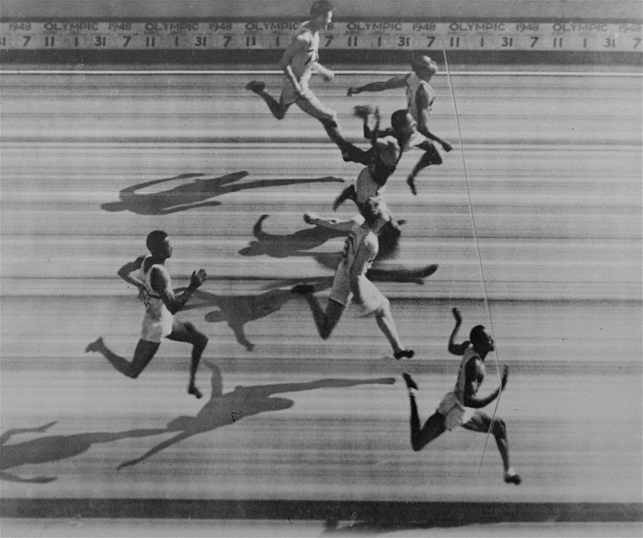 . The Olympic Games judges\' panel released this photo finish of the 100-meter dash final won by Harrison Dillard (nearest camera), Baldwin Wallace star, of the US team at Wembley, England, Saturday August 3, 1948.  From front to rear are Dillard; MacDonald Bailey, Great Britain, sixth; Alan McCorquodale, Great Britain, fourth; Lloyd LaBeach, Panama, third; Barney Ewell, Lancaster, PA, second; and Mel Patton, Los Angeles, CA,  fifth. (AP Photo/pool)