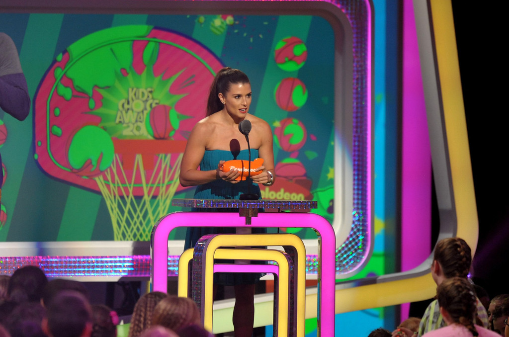 . Danica Patrick accepts the award for favorite female athlete at the 26th annual Nickelodeon\'s Kids\' Choice Awards on Saturday, March 23, 2013, in Los Angeles. (Photo by John Shearer/Invision/AP)