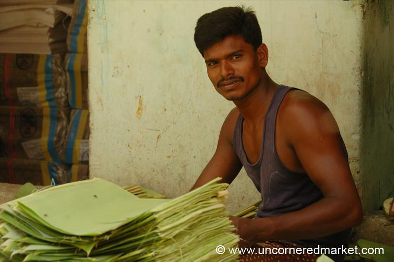 Stacking Banana Leaves - Chennai, India