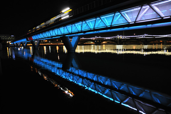 The Lightrail and Mill Avenue Bridge at Midnight