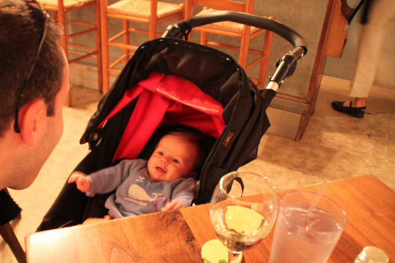 At dinner. Luca was well behaved in the restaurants and we had a number of patrons come over to see him.