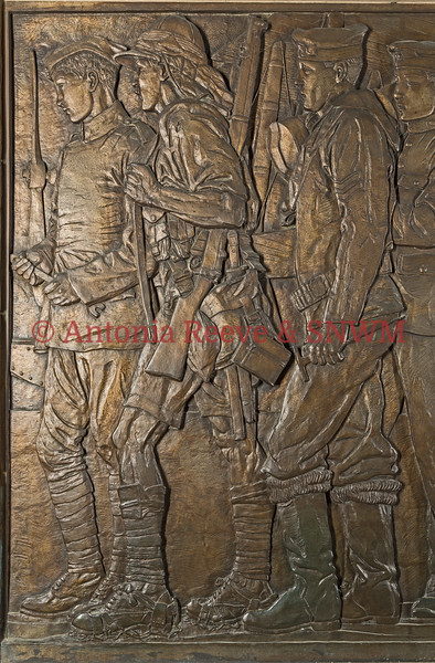 Frieze Detail of Service Personnel  Left to Right.  Mechanic Royal Flying Corps, Private The Royal Scots Fusiliers, Able Seaman, Seaman Gunner, R.N.