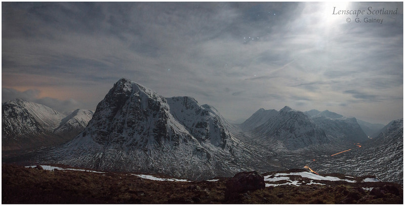 Buachaille Etive Mor and Glen Coe night-time panorama