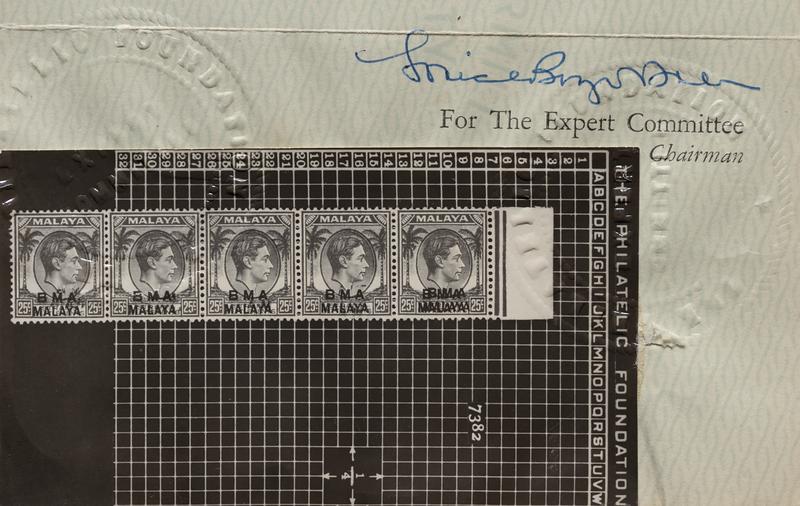 BMA Malaya 25 cents double overprint expertisation certificate, The Philatelic Foundation (New York), 1957