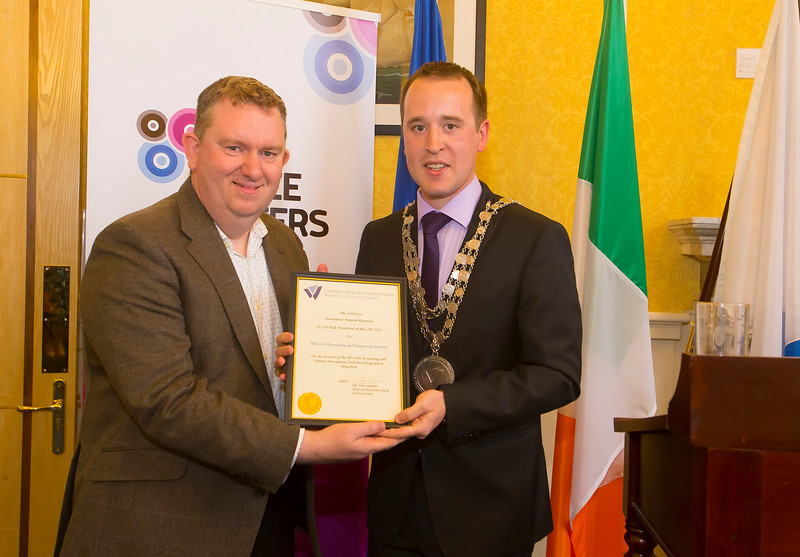 18/05/2016. Irish Accounting & Finance Accociation Annual Conference at WIT (Waterford Institute of Technology). Pictured at The Mayor's reception where Mayor Cllr. John Cummins made a presentation to Joe Coughlin. Picture: Patrick Browne