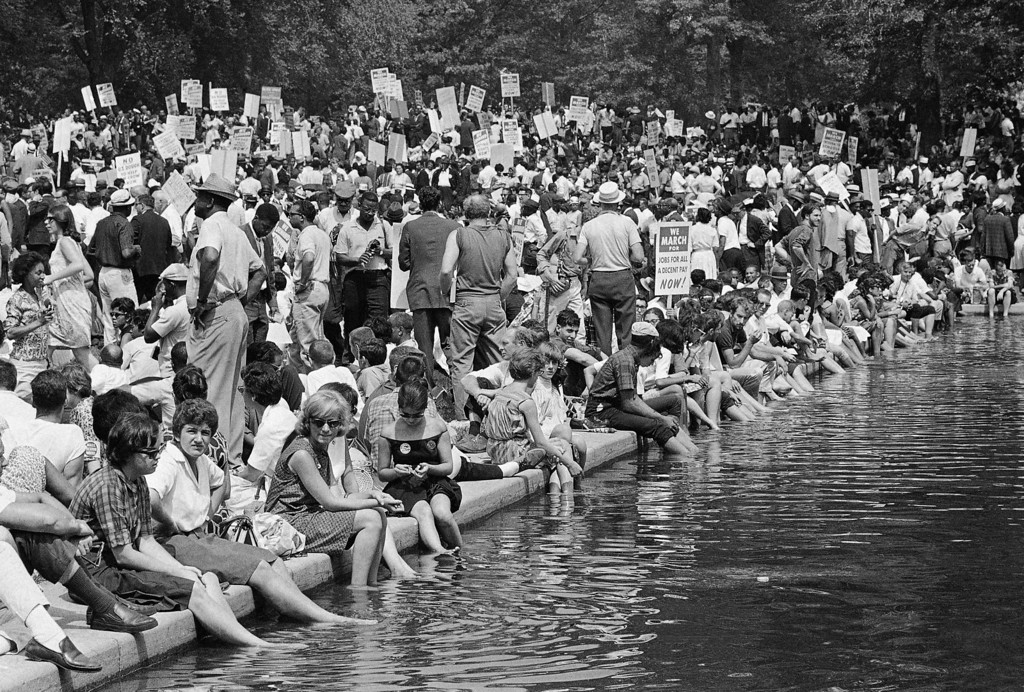 . A crowd gathers near the reflecting pooll in Washington, Aug. 28, 1963, to hear speakers in ceremonies following the March on Washington parade through the Capitol streets. (AP Photo)