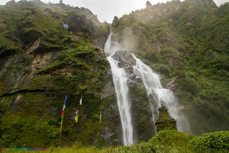 Waterfall, Prayer Flags, and Stupa