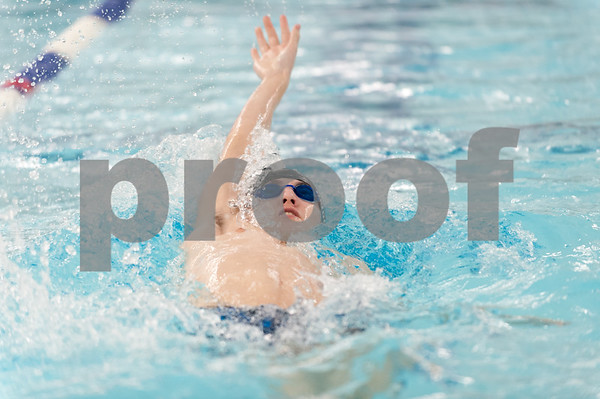 02/21/18 Wesley Bunnell | Staff Southington boys swimming defeated North West Catholic Wednesday afternoon at the Southington YMCA 90-71. Tyler Heidgerd in the 100m back stroke.
