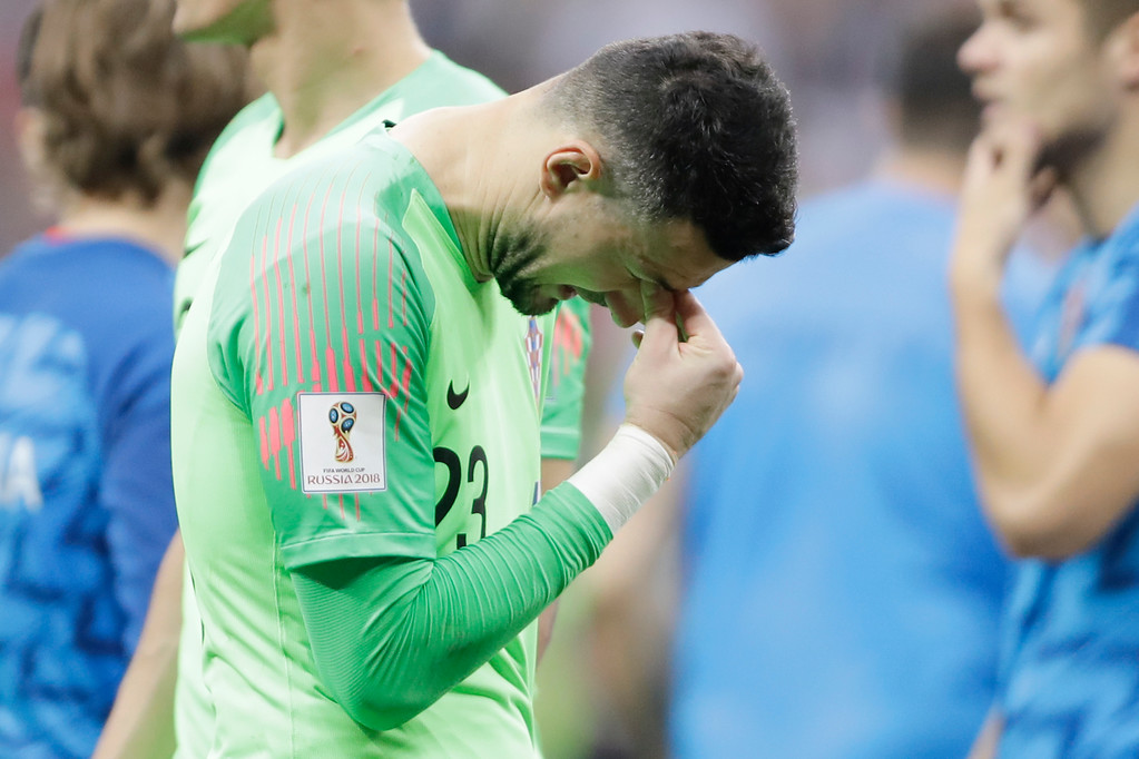 . Croatia goalkeeper Danijel Subasic cries at the end of the final match between France and Croatia at the 2018 soccer World Cup in the Luzhniki Stadium in Moscow, Russia, Sunday, July 15, 2018. (AP Photo/Natacha Pisarenko)