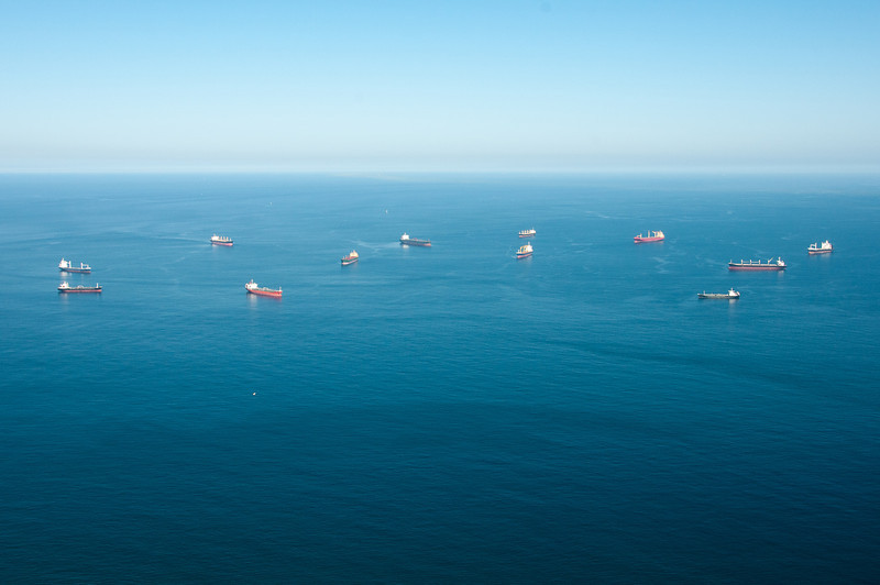 Boats cruising the sea in Gibraltar