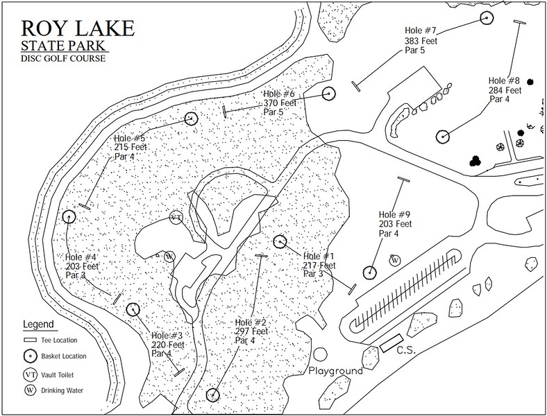 Roy Lake State Park (Disk Golf Course Map)