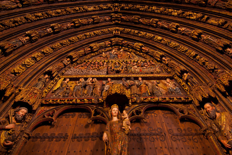 Looking up the facade of the Church of Santa Maria in Laguardia, Basque Country, Spain